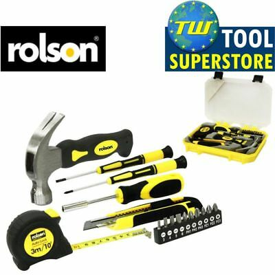 Rolson 16pc Home DIY Tool Kit Repair Tape Measure Hammer Screwdriver Kit