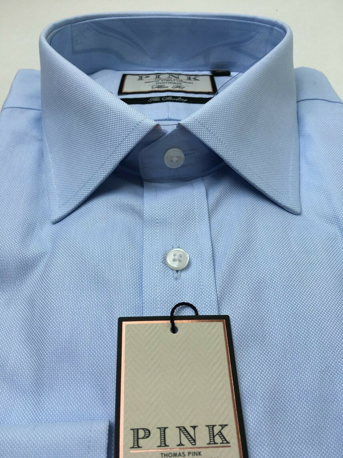 Thomas rosa 100's due volte Camicia, Camicia, Camicia, Slim Fit, UK 17, LT Blu, Nuovo con Etichetta, prezzo consigliato  c737ff