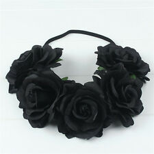 Black Crown Floral Rose Flower Headband Hairband Wedding Hair Garland Headpiece