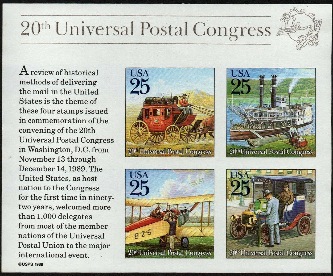 1989 25c Traditional Mail Delivery, Souvenir Sheet of 4