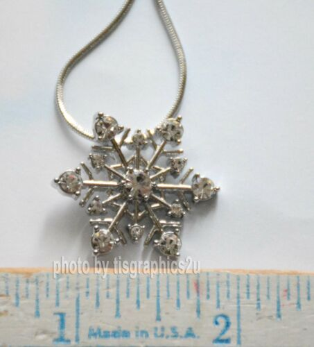 """3 Color Choices 17/"""" Silver-tone Chain Snowflake Pendent Necklace w Crystals"""