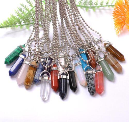 Natural Gemstones Hexagonal Pointed Reiki Chakra Healing Pendant Necklaces