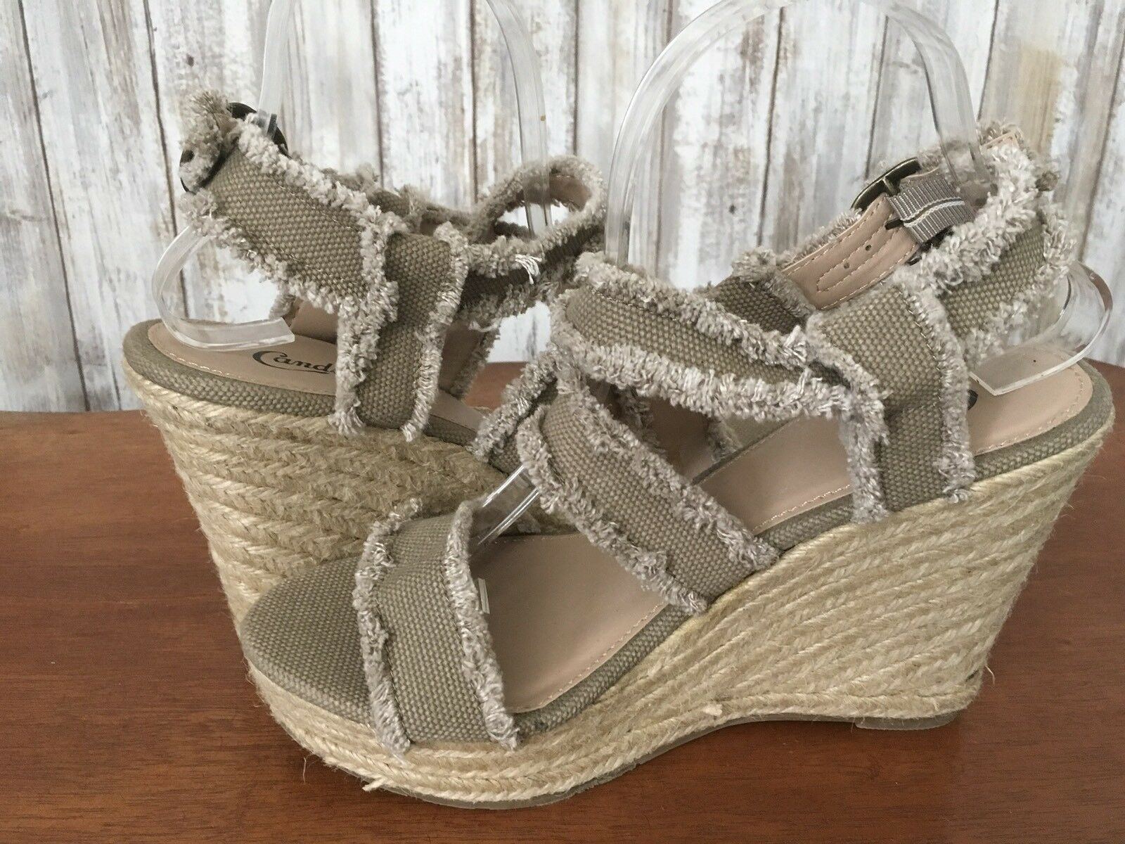 NEW Nine West sandal heel tan/orange Beautiful!  Size 10 Braided  NW7STARE
