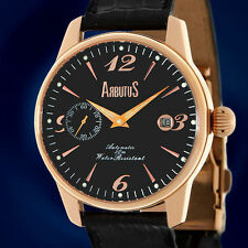 ARBUTUS: New York  Rose Gold w Exhibition Back Decorated Bridges and Rotor   NEW