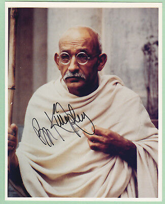 Ben Kingsley Signed Autograph Color Photo as Ghandi + Book, Melchior Collection