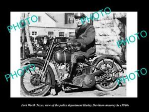 OLD-LARGE-HISTORIC-PHOTO-OF-FORT-WORTH-TEXAS-THE-POLICE-HARLEY-DAVIDSON-c1940