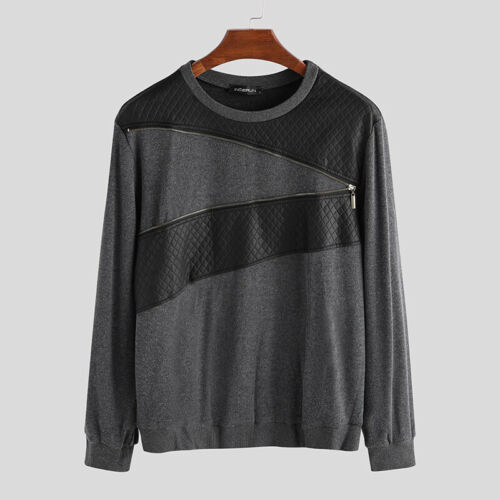 Mens Long Sleeve Jumper Leather Stitching Pullover Sweatshirt Sweater Top Blouse