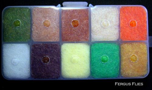 Worldwide! Top Ten Colors 1 Antron Dubbing Dispenser Box Fly Tying