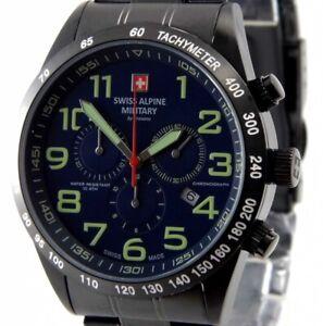SWISS-MILITARY-HERREN-CHRONOGRAPH-UHR-46mm-XL-7047-9175-schwarz-blau-NEU