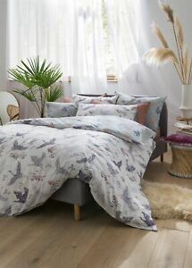 FAT FACE FLORAL FLIGHT IRIS KING SIZE DUVET COVER 4 PIECE BEDDING SET