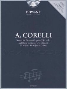 Arcangelo Corelli Sonate En Ré Majeur Op 5 No 10 Descant Recorder Music Book & Cd-afficher Le Titre D'origine