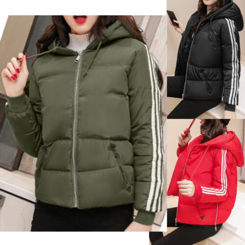 Women Hoody Jacket Coat 3 Stripe Winter Warm Padded Outwear Top Quilted Parka UK