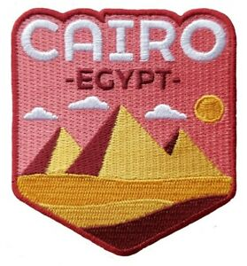 Pyramids of Giza, Cairo, Egypt Travel Patch Embroidered Iron on Sew on Souvenir