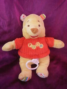 DOUDOU-PELUCHE-OURS-WINNIE-L-039-OURSON-THE-POOH-MUSICAL-PULL-ROUGE-DISNEY-BABY