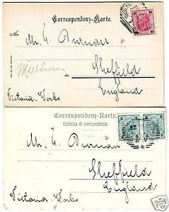1902-2-AUSTRIA-gt-VICTORIA-WORKS-SHEFFIELD-PPCs-TINY-RED-039-P-039-INSPECTOR-039-s-MARKS