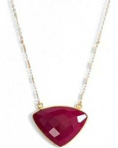 Sonya-Renee-NECKLACE-039-Lee-039-Pendant-Fuchsia-CHALCEDONY-14k-Gold-Plated-New-78