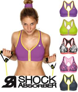 2443eda15f584 Image is loading Shock-Absorber-Active-Zipped-Plunge-Sports-Bra-Top-