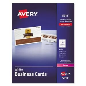 Avery 5911 printable microperf business cards laser 2 x 3 12 white stock photo cheaphphosting Images