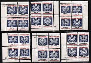 USA-Official-Stamps-Blocks-of-4-SC-O127-O128-O129-O130-O132-O133-MINT-NH-OG