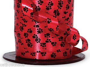 7 rolls Black Paw Print RED Curling Ribbon Cat Dog Paws Crafts Gifts Baskets