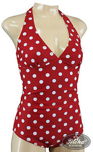 official photos 50107 a0767 Details zu Vintage Bademode Badeanzug bathing suit 50s retro Punkte polka  dots rot S M L XL