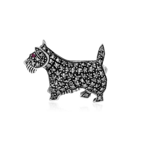 Sterling Silver Ruby & Marcasite Scottish Terrier Dog Brooch