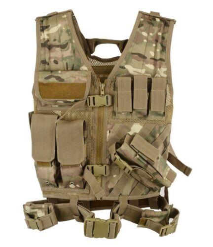 Multicam Veste tactique assaut airsoft GILETS de CHASSE MOLLE attachement Rig MAG UK