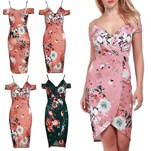 Womens-Stretch-Wrap-Over-Strappy-Floral-Cold-Shoulder-V-Neck-Party-Bodycon-Dress