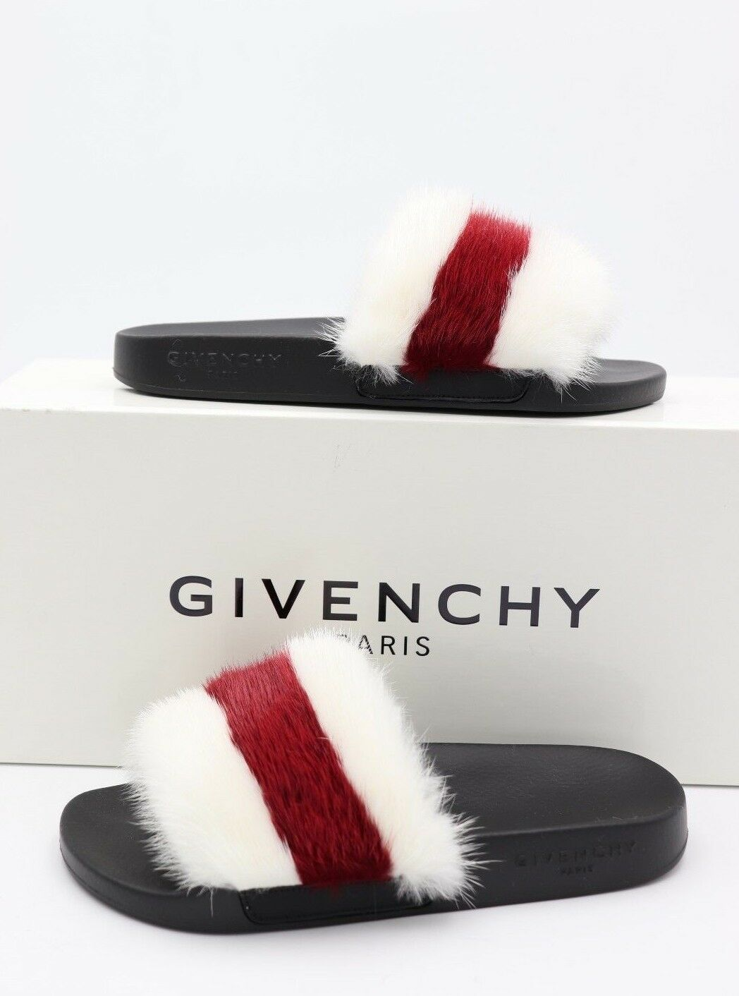 NIB GIVENCHY Stripe Mink Fur White Red Slide Sandals Flats New 6 36  $625