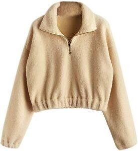 DEZZAL ZAFUL Womens Sherpa Pullover Faux Fur Half Zip Long Sleeve Crop Sweatshirt