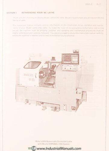 Okuma LB15 Maintenance 860 page Manual OSP5000L Lathe Operation Programming