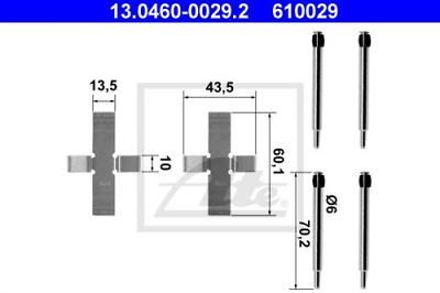 Scheibenbremsbelag ATE 13.0460-0912.2 Zubehörsatz
