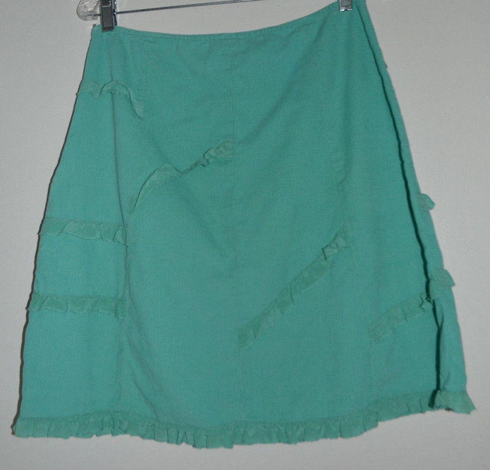 Anthropologie  Odille Turquoise Corduroy Skirt 6