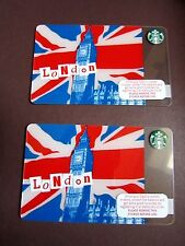 Rare Starbucks Retro Vintage 2011 London Plastic Loyalty Gift Credit Card x 2