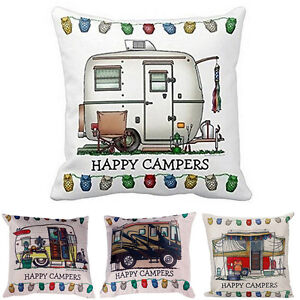 Home-Happy-Campers-Sofa-Waist-Throw-Cushion-Cover-Pillow-Case-Home-Decoration-MW