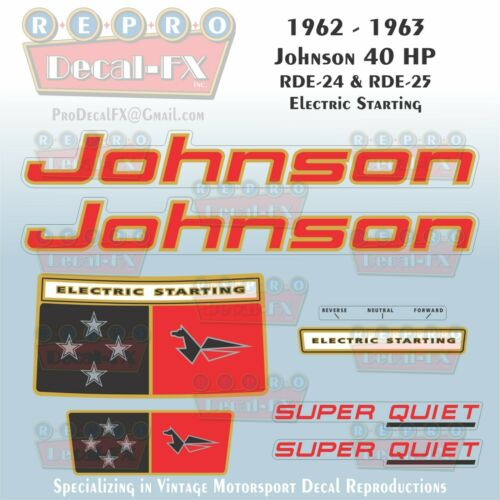1962-63 Johnson 40HP RDE-24//25 Electric Start SeaHorse Outboard Repro 8Pc Decals
