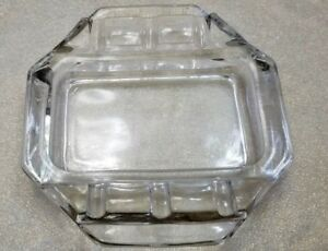 VINTAGE-CRYSTAL-CLEAR-GLASS-HEAVY-DUTY-ASHTRAY