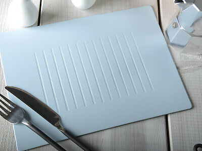 Set of 4 PASTEL BLUE EMBOSSED Bonded Leather PLACEMATS Table Mats MADE IN UK