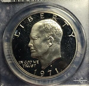 1971 S Proof 40/% Silver Eisenhower Dollar Collection In Brown Box Nice DCAM Coin