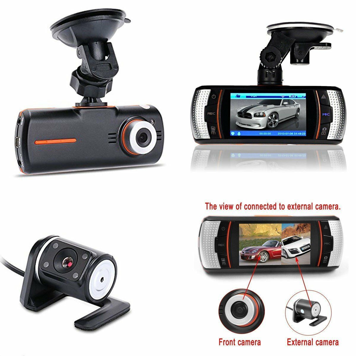 "s-l1600 2.7"" HD 1080P Car Dash Camera DVR Vehicle Front and Rear Dual Lens Recorder Cam~"