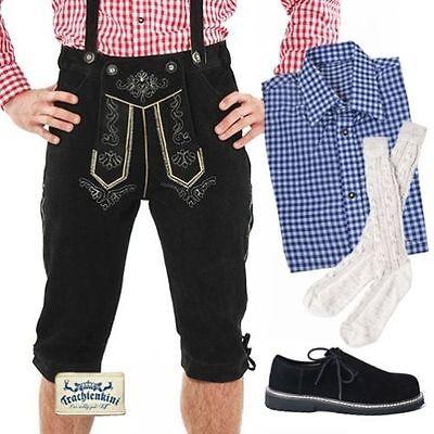 5-tlg.Trachtenset: Lederhose Kniebund schwarz Gr.44-70 Hemd blau S-6XL Socken L