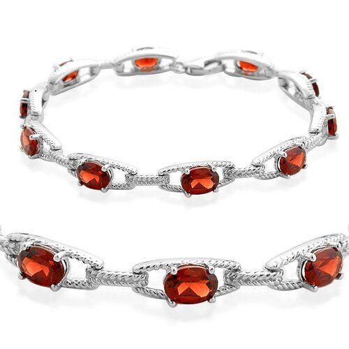 """Natural Garnet oval cut Tennis Bracelet 925 sterling silver Platinum over 7.25/"""""""