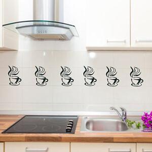 Details zu Wand Tattoo Küche 6 Kaffeetassen Fenster, Fliesen,Möbel,Borte  Aufkleber