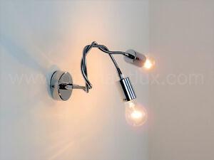 Applique lampada da parete modero cromato braccio flessibile e27