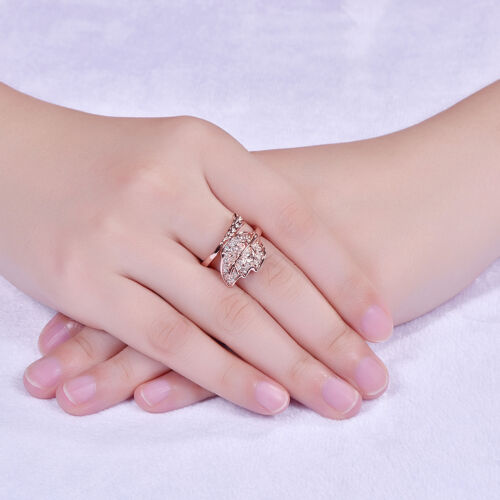 18K Rose Gold Plated Cocktail Ring AAA Zirconia Women Leaves B283