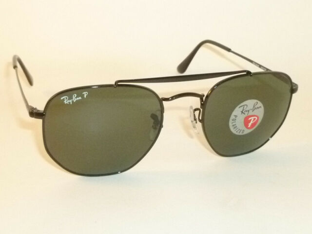 b1adc15554d95 New RAY BAN Marshal Sunglasses Black Frame RB 3648 002 58 Polarized Green  51mm