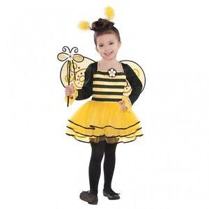 Biene-Maedchen-Kostuem-Gr-104-110-Kleid-amp-Fluegel-amp-Haarreif-Karneval-Kostuem