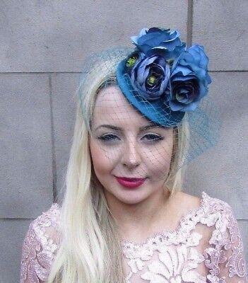 Royal Blue Rose Hydrangea Birdcage Veil Flower Hair Fascinator Hat Races 5716