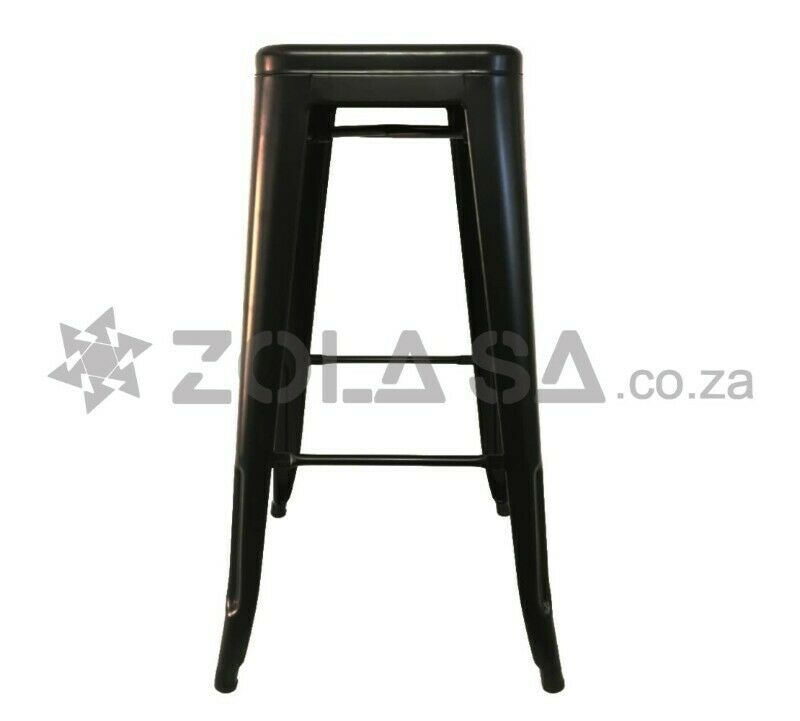 Tolix Bar Stool With No Back -Black/White/Red