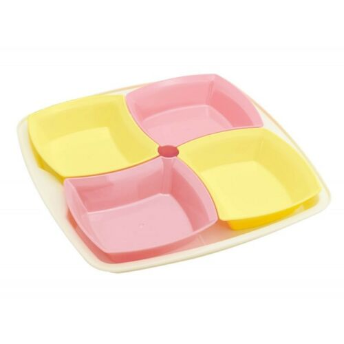 Yellow//Paste Pink Set of 4 Snack Bowl on a Tray-Dish Serving Tray Dip Nuts Party